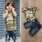 US Toddler Boys Kids Baby Cotton Tops T-shirts+Shorts Pants Clothes Outfits Set