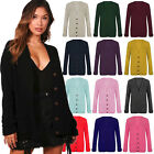 Ladies Women Long Sleeve Cardigan Button Chunky Cable Knitted Grandad Jumper