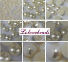 Ivory Flat Back Half Pearls Scrapbooking Beads Gems DIY Craft (Size 3-25mm)