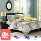 yellow doona covers - Grey Yellow White Duvet Cover BEDDING SET [Doona Quilt BED] Tanya Damask, Warmth