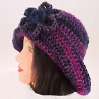 HAND CROCHET LADIES CLOCHE HAT 1920 knit festival floppy brim 15 matching gloves