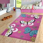 Children Bedroom Pink Rug Butterfly Design Kids Play Mat Quality Nursery Carpet