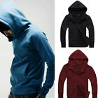 Men's Solid Color Gloves Long Sleeved Hooded Sweater Jacket Cardigan Outwear EP_