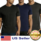 Mens New Athletic Moisture Wicking Dri Fit Gym Workout Sports Solid T-Shirt S-XL image
