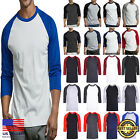 New Mens 3/4 Sleeve Baseball shirts T-Shirts Raglan Jersey Active Sports TEE  image
