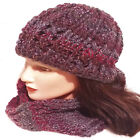 HAND CROCHETED LADIES FESTIVAL BEANIE HAT knitted matching gloves scarf set 35