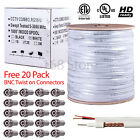 RG59 SIAMESE BULK Cable +Power Wire 500ft 1000ft 20AWG+18/2 Security Camera CCTV