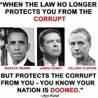 Anti Liberal LAW PROTECTS THE CORRUPT NATION DOOMED Conservative Political Shirt