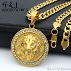 "18-40""MEN Stainless Steel 6mm Gold Cuban Curb Chain ICED Lion Head Pendant*GP109"