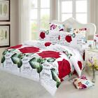 4Pcs 3D Red Rose Queen King Comforter Bedding Set Duvet Cover Bed Sheet New Z8E7