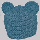 BOYS HAND CROCHETED HAT CHUNKY TEDDY BEAR ears blue beanie gift bud