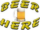 BEER HERE VINYL DECAL (CHOOSE SIZE) CONCESSION STAND BOARDWALK