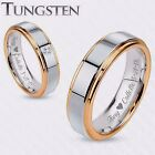 PERSONALIZED SILVER & GOLD TUNGSTEN PROMISE RING SET CUSTOM ENGRAVED FREE