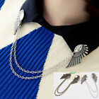 Women's Collar Clip Chain Tassel Blouse Shirt Angel Wing Tips Pin Brooch Unique