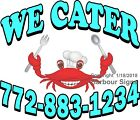 Custom Seafood We Cater DECAL (Choose Your Size) Food Truck Concession Sticker