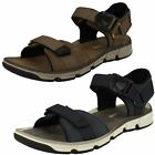 Mens Clarks Explore Part Navy Or Mushroom Leather Casual Strapped Sandals