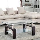 Modern Glass Chrome Wood Coffee Table Shelf Rectangular Living Room Furniture