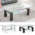 wood coffee table uk - Modern Glass Chrome Wood Coffee Table Shelf Rectangular Living Room Furniture