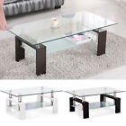 Contemporary Glass Chrome Wood Coffee Table Shelf Rectangular Living Flat Furniture