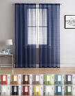 2 Pack: Contemporary Plaid Sheer Voile Window Curtains - Assorted Colors