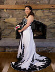 White and Black Appliques Wedding Dresses Gothic Plus Size Strapless Bridal Gown