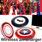 Fast Qi Wireless Captain America Charger Charging Dock Pad For Phone & Tablets