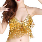 Sequins Belly Dance Top Costume Tassel Fringe Hip Scarf Belt Waist Wrap Skirt
