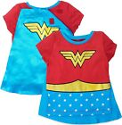 Wonder Woman Girls' Costume Tee Shirt with Cape, Red