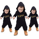UK Newborn Baby Kids Boy Girls Infant Romper Jumpsuit Bodysuit Hooded Outfit Set