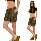 New Womens Ladies Army Military Style Green & Brown Camouflage Casual Shorts