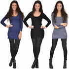 New Ladies Womens 3/4 Sleeve Fitted Stretch Knit Jumper Dress One Size UK 6-8-10
