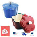 Cast Iron Blossom Covered Mini Casserole Floral-Shape Oven Covered Kitchen Home