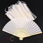 20/40x Portable Folding White Silk Bamboo Hand Fan Wedding Favours with Gift Bag