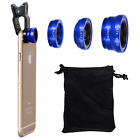 Universal Wide Angle+Fish Eye+Macro 3-in-1 Camera Photo Lens Kit For Smart Phone