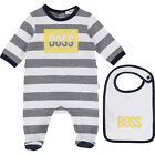 Hugo Boss Pyjama Sleepsuit + Bib Size 1 M,3 M, 6 M NEW SO18