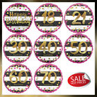 """18"""" Pink & Gold Birthday Holographic Standard Helium Foil Balloons Age 18 to 70"""