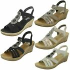 Ladies Rieker 62459 Grey, Multi Or Blue Synthetic Casual Wedge Heel Sandals