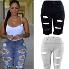 women skinny ripped holes jeans short pants