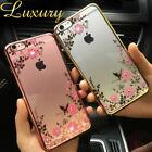Ultra Slim Luxury Glitter Flower Soft Clear Back Phone Case Cover For iPhone 6 5