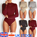 UK Womens Ladies Long Sleeve Knitted Bodysuit Bodycon Stretch Plain Leotard Top