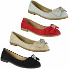 Womens Bow Ballerina Pumps Ladies Slip On Diamante Wedding Party Flat Shoes Size