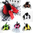 New Bow Hair Clip Lace Feather Mini Top Hat Burlesque Party Fancy Dress Good