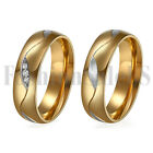 2PCS His and Hers Couple Rings CZ lnlaid Promise Wedding Engagement Band SZ 5-13
