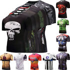 Mens Marvel Superhero Cycling Jersey Costume Compression Skin Tights T-Shirts