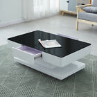 White Coffee Table With 2 Drawers High Gloss With Painting Tempered Glass Top