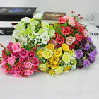 21pcs/heads Artificial Silk Rose Flowers Bouquet Fake Leaves Wedding Home Decor