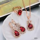 Fashion Women Zircon Pendant Necklace Earrings Set Crystal Wedding Jewelry New