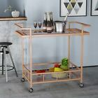 Amaya Industrial Modern Tempered Glass and Iron Bar Cart with Rolling Casters