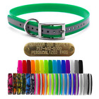 "1"" Extra Long Premium Glow Tuff D Ring Dog Collar Strap with Free Brass Name Tag"