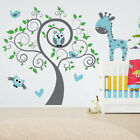 Large Owl Tree Giraffe Animal Vinyl Wall Sticker Nursery Kids Baby Bedroom Decal